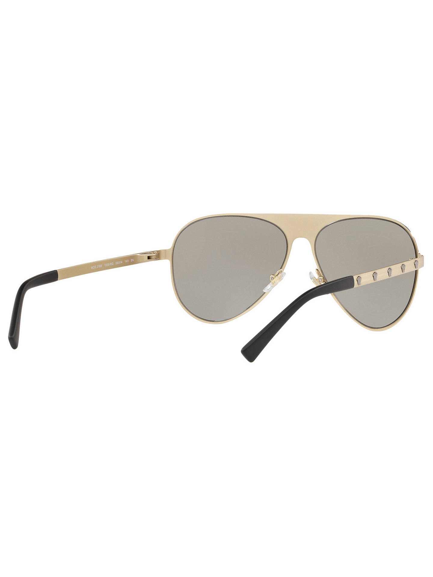 c7053b4e1453 ... Buy Versace VE2189 Unisex Polarised Embellished Aviator Sunglasses,  Pale Gold/Light Brown Online at ...