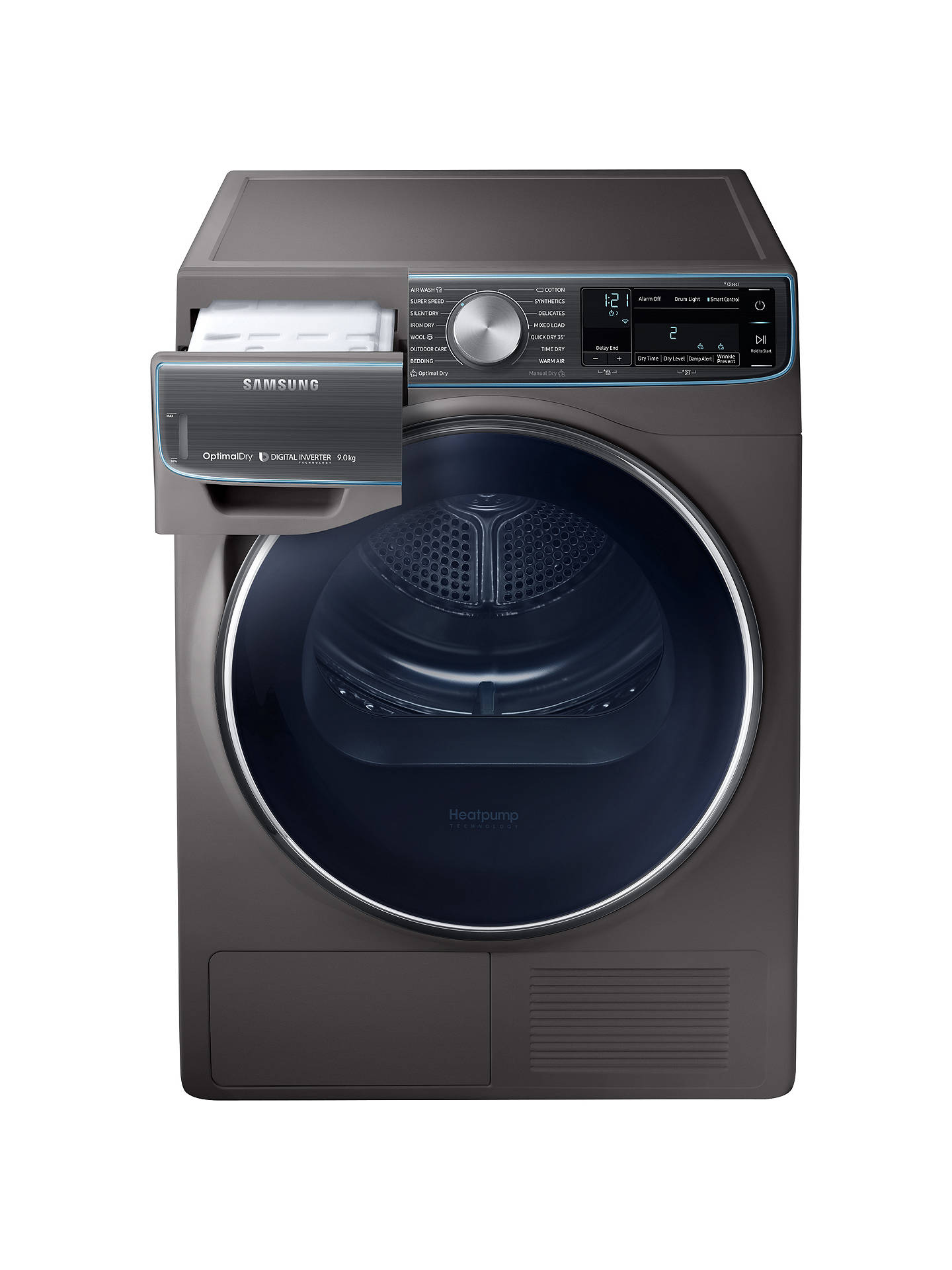 BuySamsung DV90N8288AX/EU Freestanding Heat Pump Tumble Dryer, 9kg Load, A+++ Energy Rating, Graphite Online at johnlewis.com