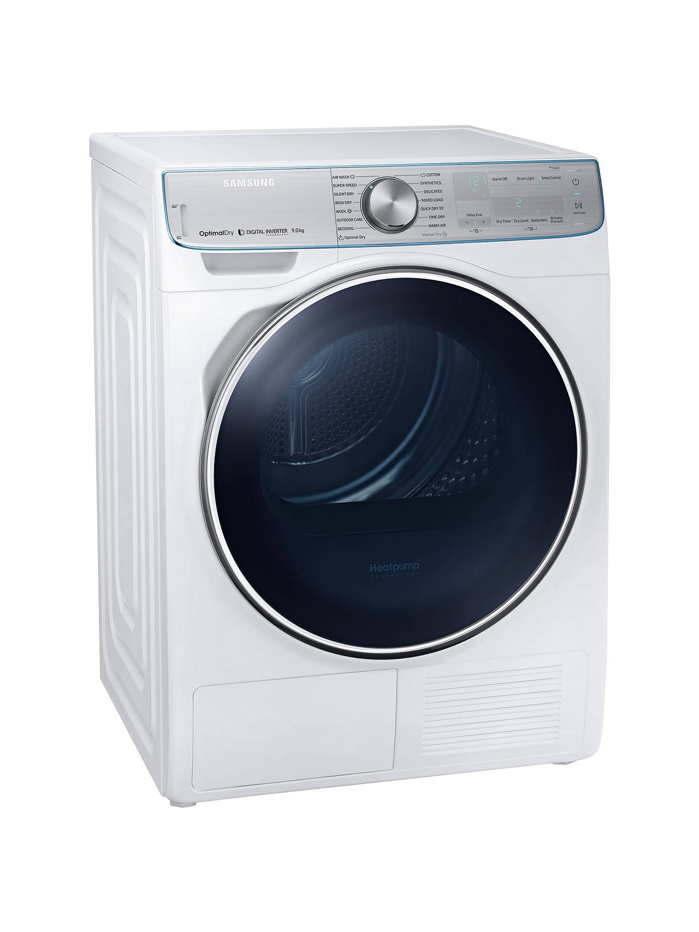 BuySamsung DV90N8289AW/EU Freestanding Heat Pump Tumble Dryer, 9kg Load, A+++ Energy Rating, White Online at johnlewis.com