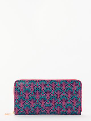Liberty London Iphis Print Large Zip Around Purse, Navy/Multi