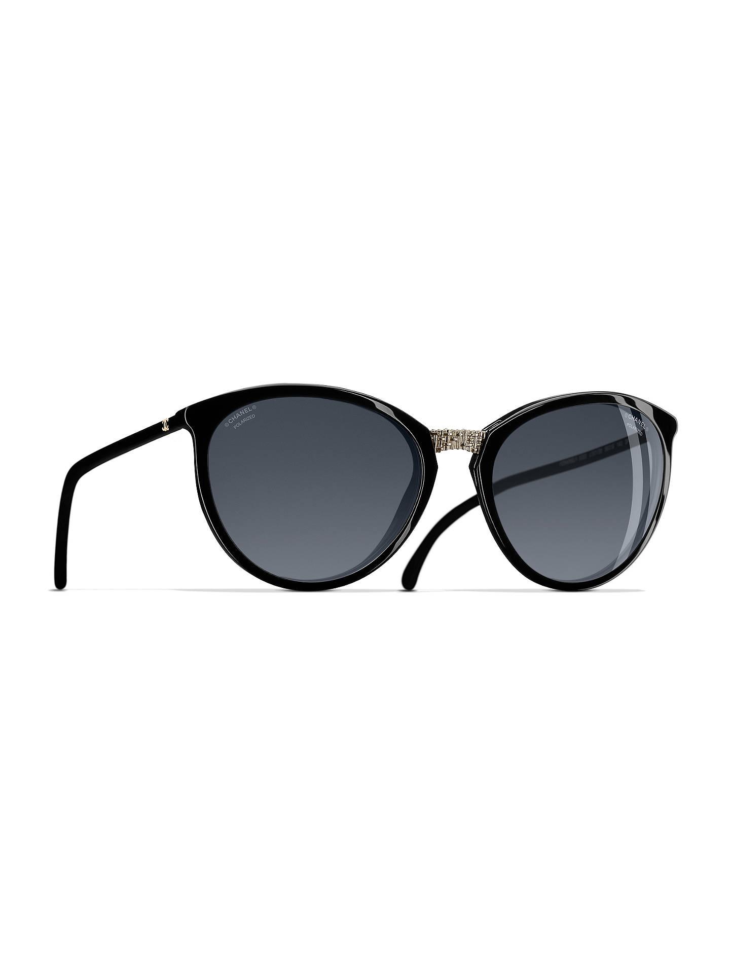 CHANEL Polarised Cat\'s Eye Sunglasses CH5382 Black at John Lewis ...