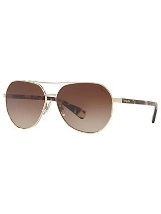 Ralph RA4123 Women's Aviator Sunglasses, Gold/Brown Gradient
