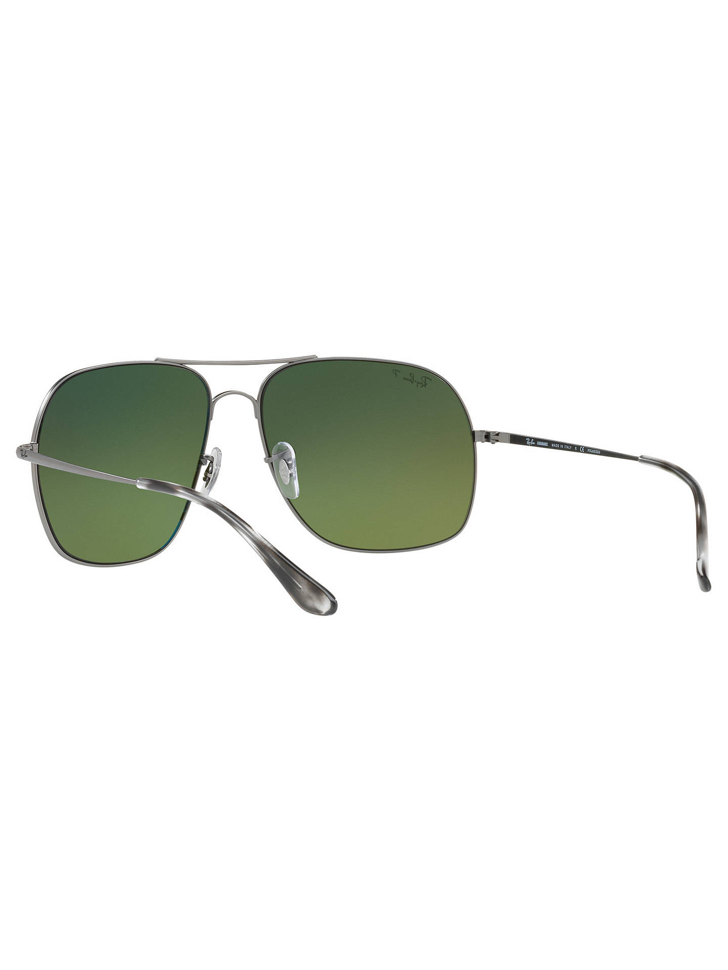 BuyRay-Ban RB3587CH Men's Chromance Polarised Square Sunglasses, Silver/Mirror Green Online at johnlewis.com