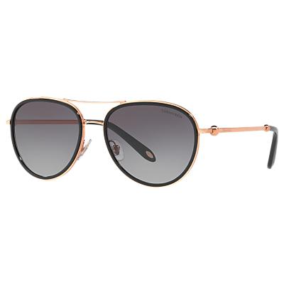 Tiffany & Co TF3059 Women's Aviator Sunglasses, Rose Gold/Grey Gradient