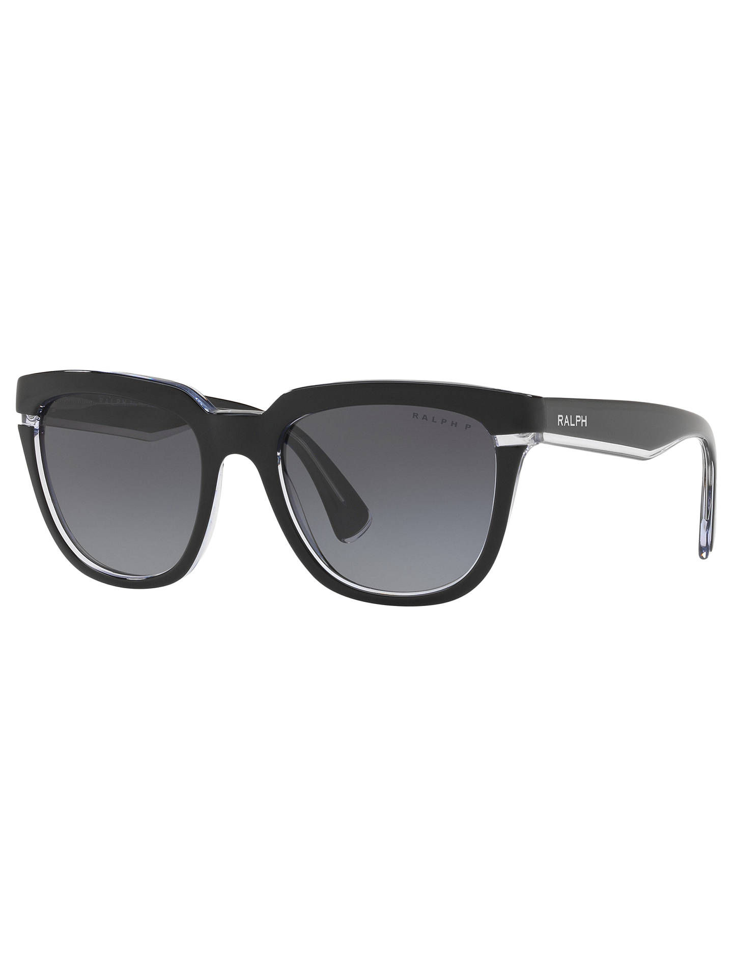 BuyRalph RA5237 Women's Polarised Square Sunglasses, Black/Grey Gradient Online at johnlewis.com