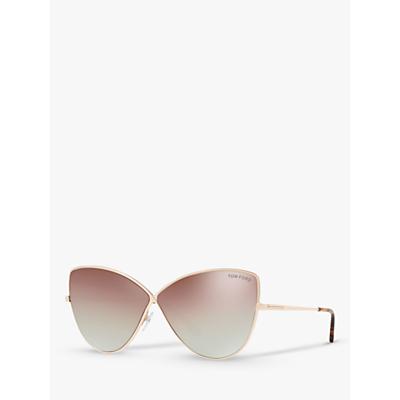 TOM FORD FT0569 Women's Elise-02 Cat's Eye Sunglasses, Rose Gold/Mirror Pink