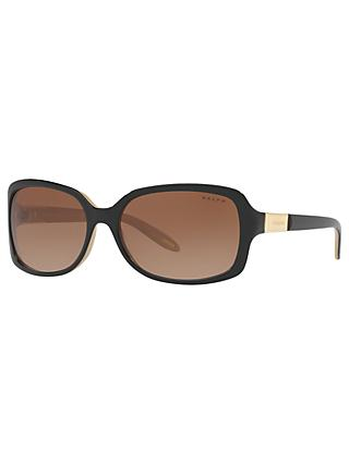 Ralph RA5130 Women's Rectangular Sunglasses, Black/Brown Gradient