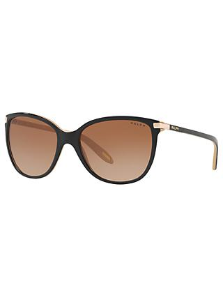 Ralph RA5160 Women's Rectangular Sunglasses, Black/Brown Gradient