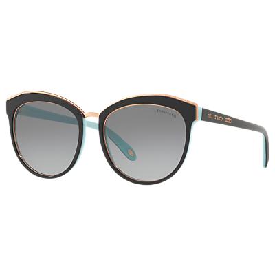 Tiffany & Co TF4146 Women's Oval Sunglasses, Black/Grey Gradient