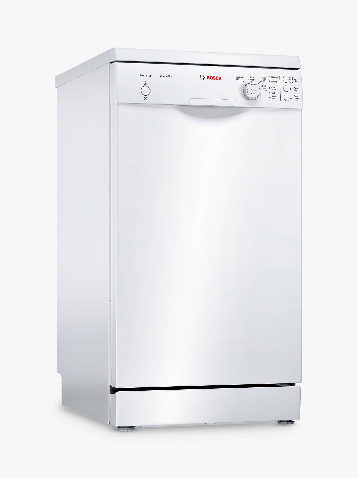 Buy Bosch SPS24CW00G Freestanding Slimline Dishwasher, White Online at johnlewis.com