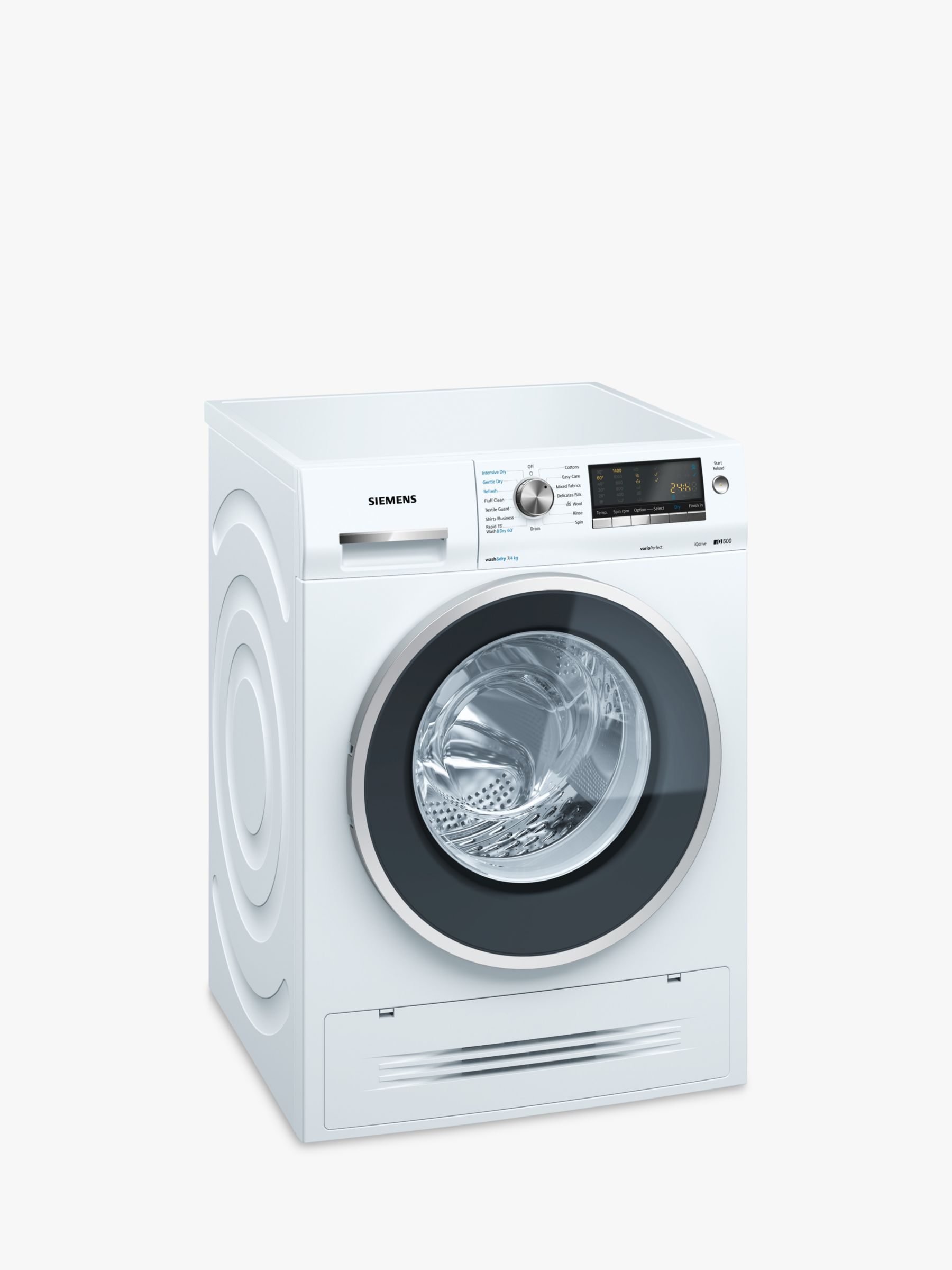Siemens Siemens WD14H422GB Washer Dryer, 7kgWash/4kg Dry Load, A Energy Rating, 1400rpm Spin, White