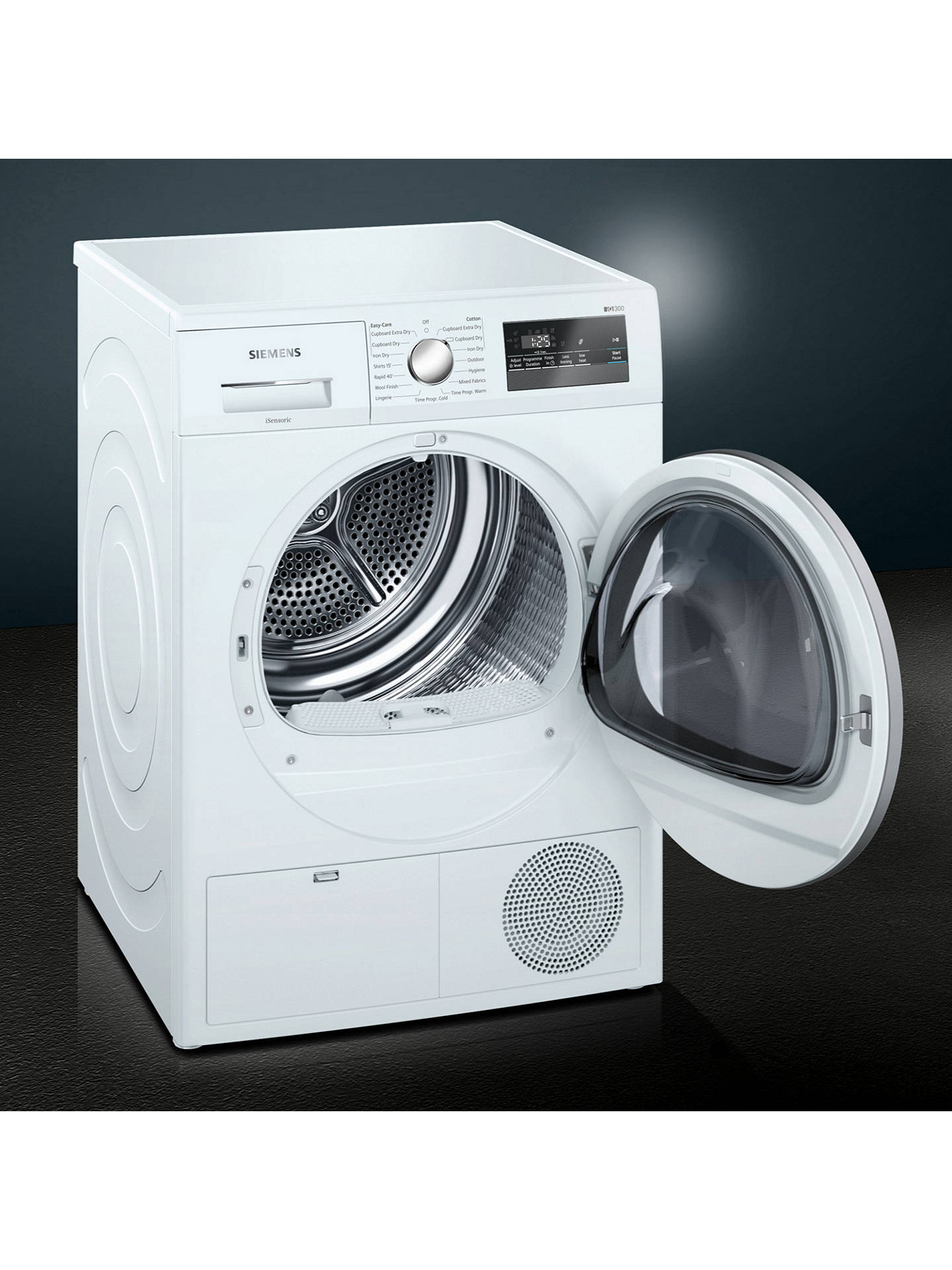 BuySiemens WT45N201GB Condenser Tumble Dryer, 8kg Load, B Energy Rating, White Online at johnlewis.com