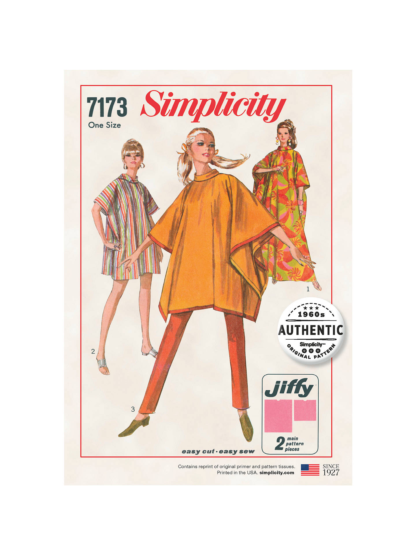 Simplicity Women's 1960s Vintage Jiffy Poncho Sewing Pattern, 7173