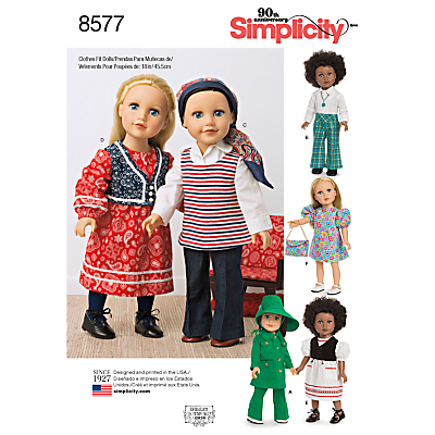 Image of Simplicity 18 1970s Doll Clothes Sewing Pattern, 8577