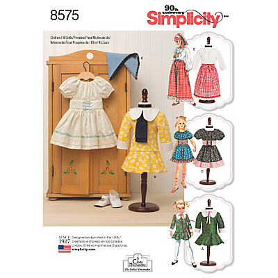 Image of Simplicity 18 Vintage Doll Clothes Sewing Pattern, 8575