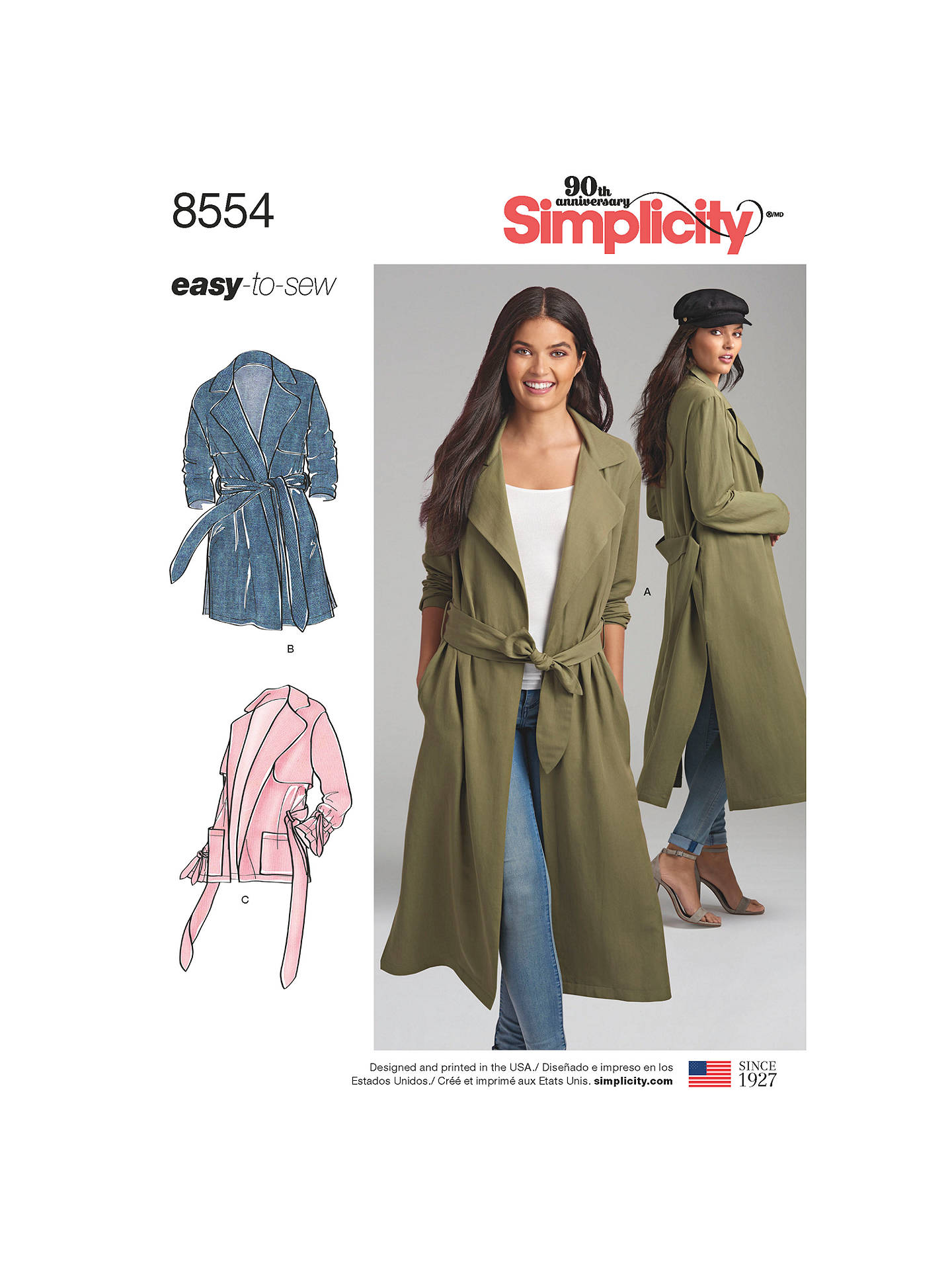 23ca4f238 Simplicity Women's Trench Coat and Jacket Sewing Pattern, 8554