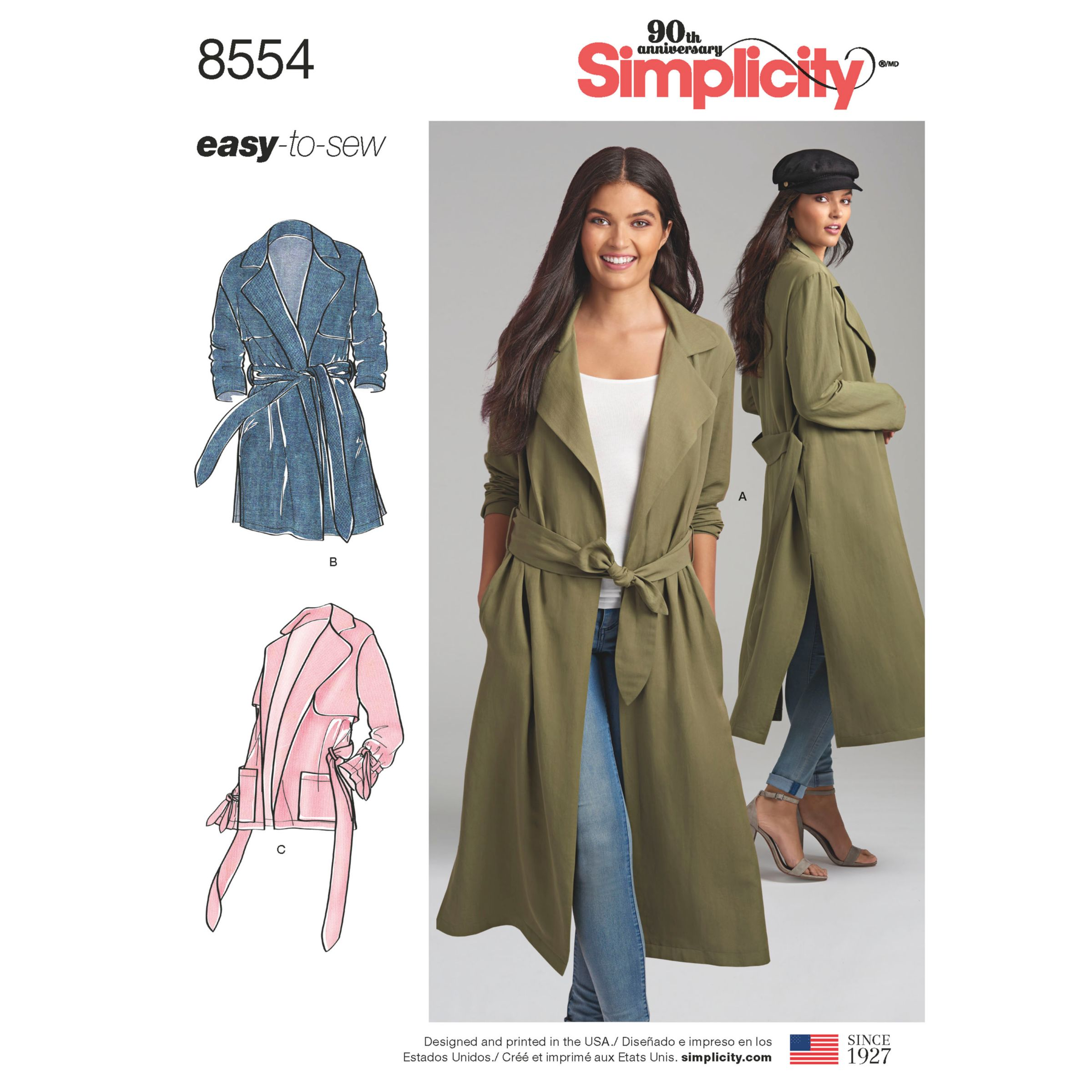 Simplicity Women S Trench Coat And Jacket Sewing Pattern 8554 At John Lewis Partners