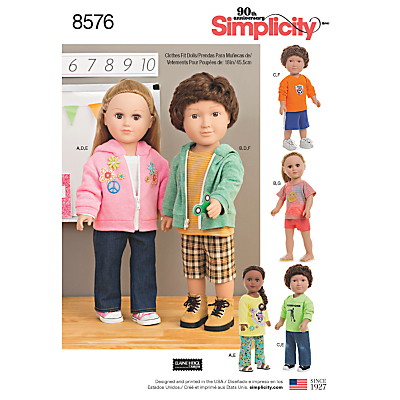 Image of Simplicity 18 Unisex Doll Clothes Sewing Pattern, 8576