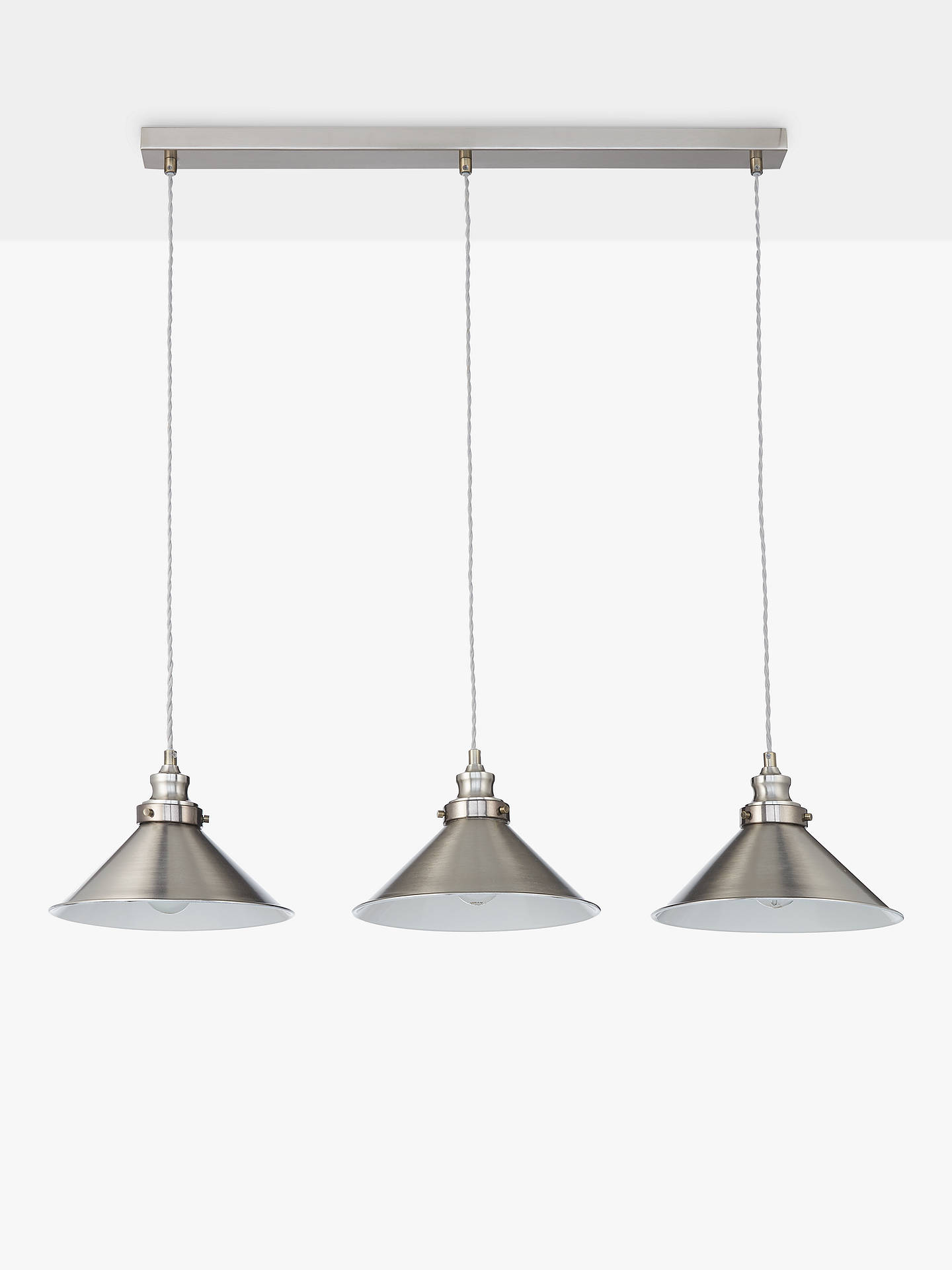 John Lewis Partners Tobias 3 Pendant Diner Ceiling Light Nickel At John Lewis Partners