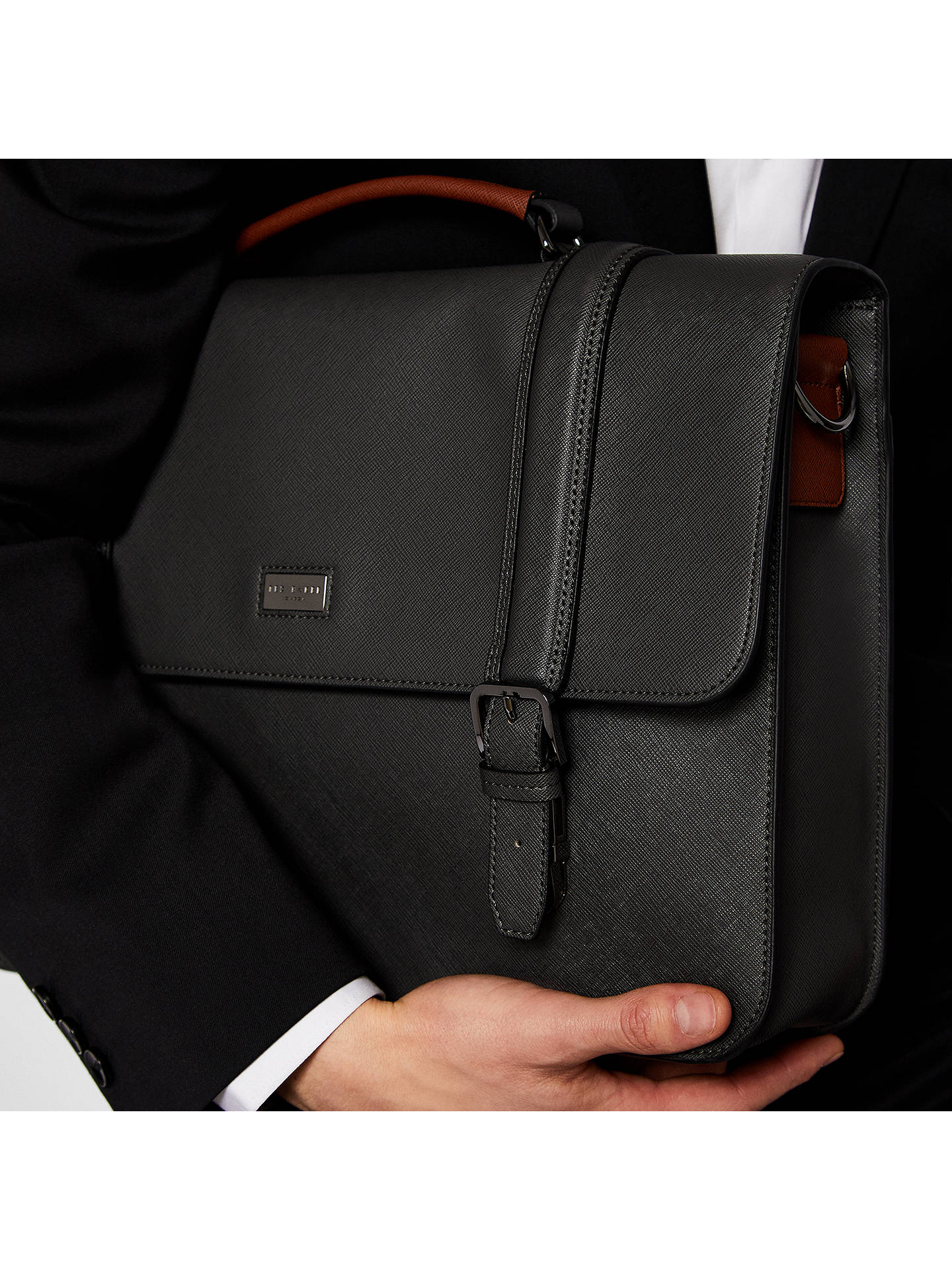 BuyTed Baker Machu Crossgrain Satchel, Charcoal Online at johnlewis.com