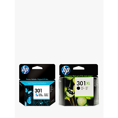 Image of HP 301XL Ink Cartridge, Black & 301 Ink Cartridge, Tri-Colour Multipack, Pack Of 2