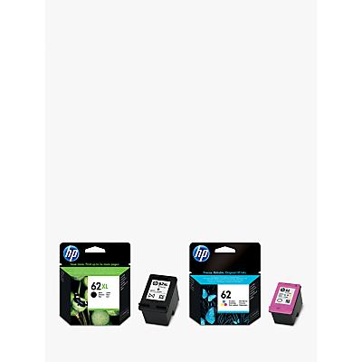 Image of HP 62XL Ink Cartridge, Black & 62 Ink Cartridge, Tri-Colour Multipack, Pack Of 2