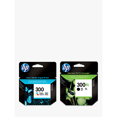 Image of HP 300XL Ink Cartridge, Black & 300 Ink Cartridge, Tri-Colour Multipack, Pack Of 2