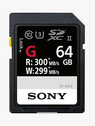 Sony SF64G Performance Class 10 UHS-II U3 SDXC Memory Card, 64GB, 299MB/s