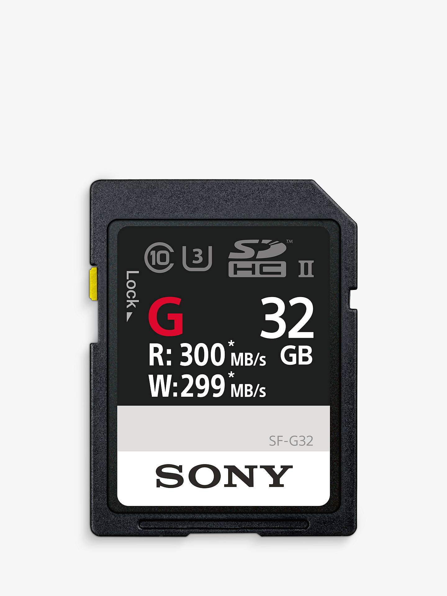 Buy Sony SF32G Performance Class 10 UHS-II U3 SDXC Memory Card, 32GB, 299MB/s Online at johnlewis.com