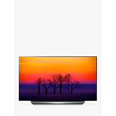 LG OLED55C8PLA OLED HDR 4K Ultra HD Smart TV, 55 with Freeview Play/Freesat HD, Dolby Atmos & Streamlined Alpine Stand, Ultra HD Certified, Silver