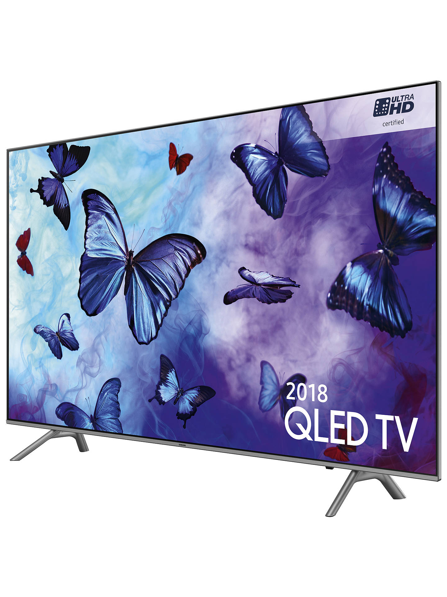 "Buy Samsung QE49Q6FN (2018) QLED HDR 1000 4K Ultra HD Smart TV, 49"" with TVPlus/Freesat HD & 360 Design, Ultra HD Certified, Silver Online at johnlewis.com"