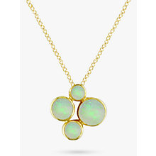 Buy EWA 9ct Yellow Gold 4 Stone Pendant Necklace, Opal Online at johnlewis.com