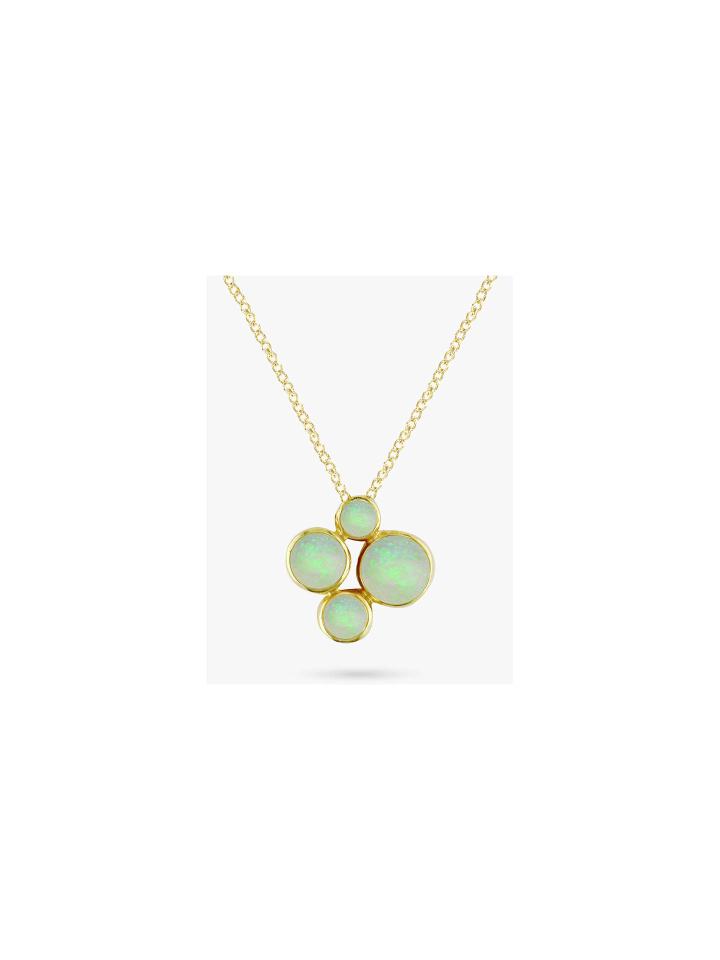 8d45082dd25 Buy E.W Adams 9ct Yellow Gold 4 Stone Pendant Necklace, Opal Online at  johnlewis.
