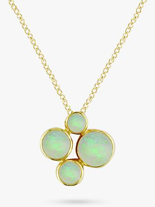 E.W Adams 9ct Yellow Gold 4 Stone Pendant Necklace, Opal