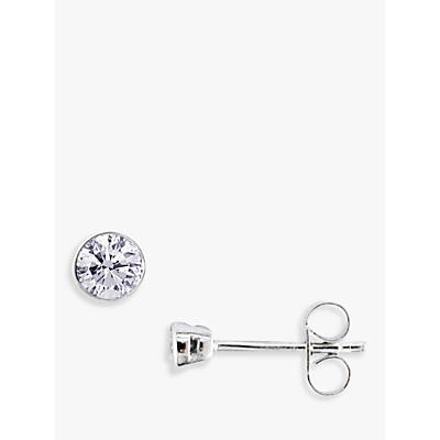 E.W Adams 18ct White Gold Round Diamond Stud Earrings, 0.40ct
