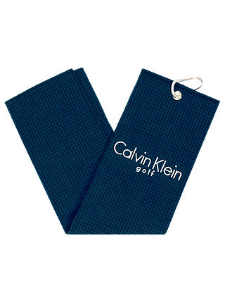 Buy Calvin Klein Golf Tri Fold Waffle Towel, Navy Blue Online at johnlewis.com