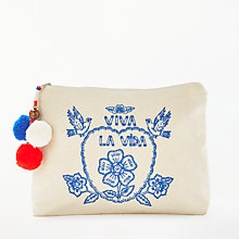 Buy Star Mela Viva Embroidered Purse, Ecru/Blue Online at johnlewis.com