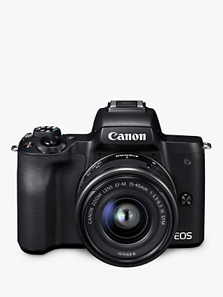 "Canon EOS M50 Compact System Camera with EF-M 15-45mm f/3.5-6.3 IS STM lens, 4K Ultra HD, 24.1MP, Wi-Fi, Bluetooth, NFC, OLED EVF, 3"" Vari-Angle Touch Screen"