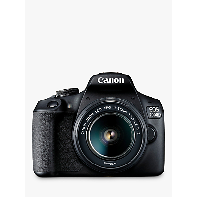 Canon EOS 2000D Digital SLR Camera with 18-55mm f/3.5-5.6 IS Lens, 1080p Full HD, 24.1MP, Wi-Fi, NFC, Optical Viewfinder, 3 LCD Screen, Black