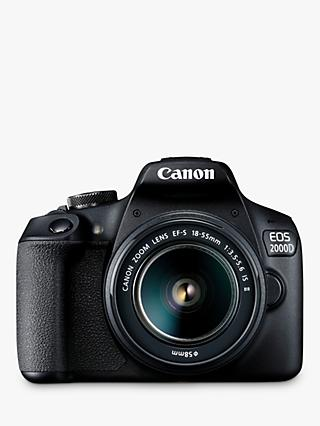 "Canon EOS 2000D Digital SLR Camera with 18-55mm IS II Lens, 1080p Full HD, 24.1MP, Wi-Fi, NFC, Optical Viewfinder, 3"" LCD Screen, Black"