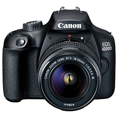 Canon EOS 4000D Digital SLR Camera with 18-55mm f/3.5-5.6 Lens, 1080p Full HD, 18MP, Wi-Fi, Optical Viewfinder, 2.7 LCD Screen, Black