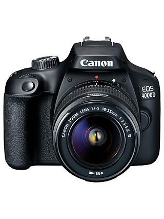 "Canon EOS 4000D Digital SLR Camera with 18-55mm f/3.5-5.6 Lens, 1080p Full HD, 18MP, Wi-Fi, Optical Viewfinder, 2.7"" LCD Screen, Black"