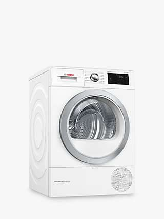 Bosch Serie 6 WTWH7660GB Heat Pump Tumble Dryer, 9kg Load, A++ Energy Rating, White
