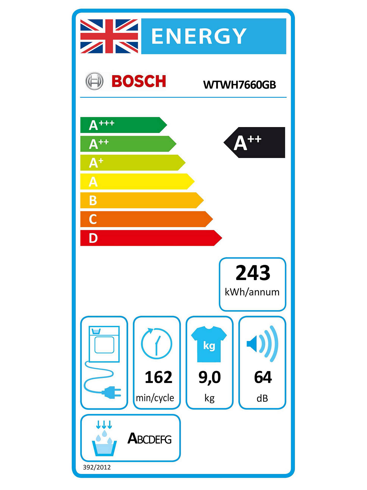 BuyBosch WTWH7660GB Condenser Tumble Dryer with Heat Pump, 9kg Load, A++ Energy Rating, White Online at johnlewis.com