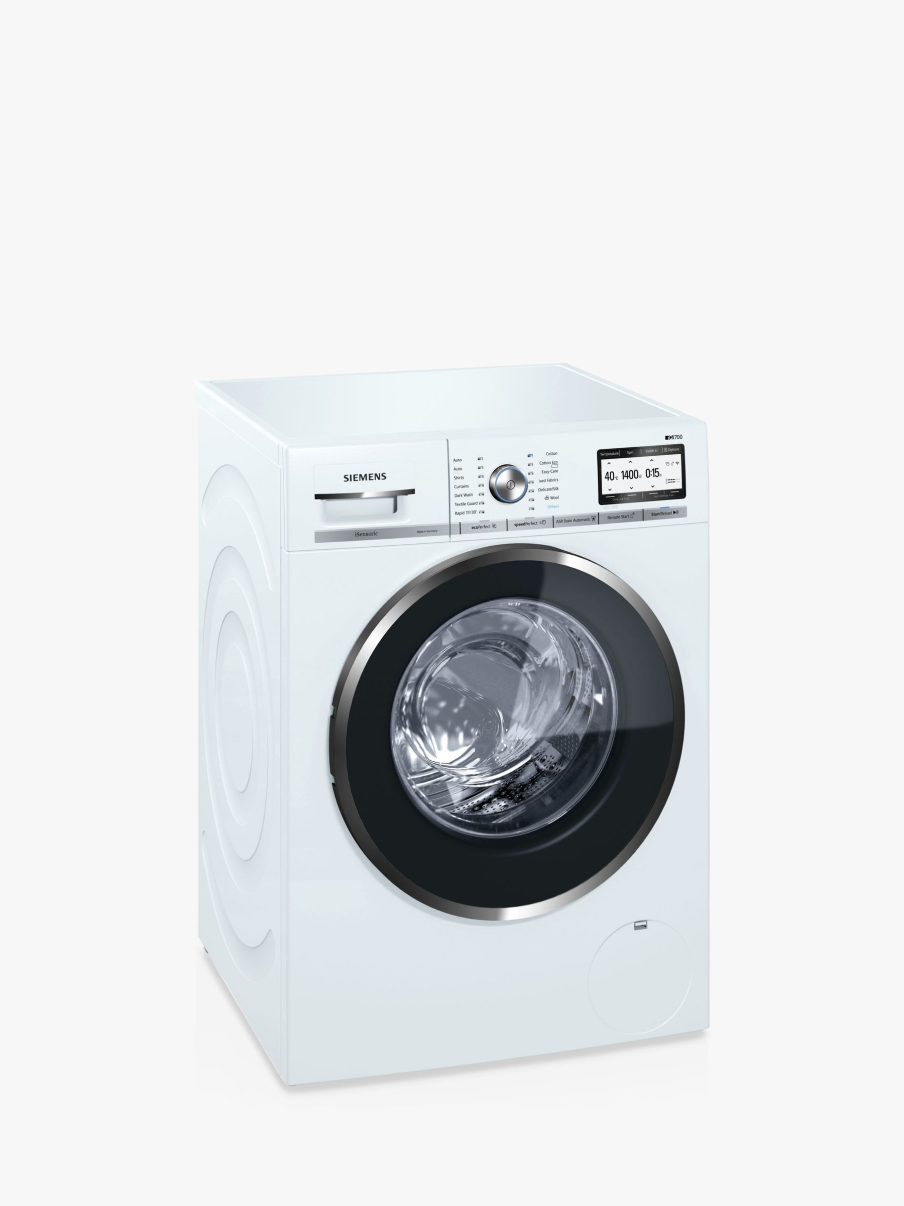 Siemens Siemens WM14YH79GB Freestanding Washing Machine with Home Connect, 9kg Load, A+++ Energy Rating, 1400rpm Spin, White