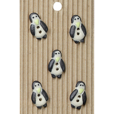 Image of Habico Penguin Shaped Buttons, 30mm, Pack of 5, Black/White