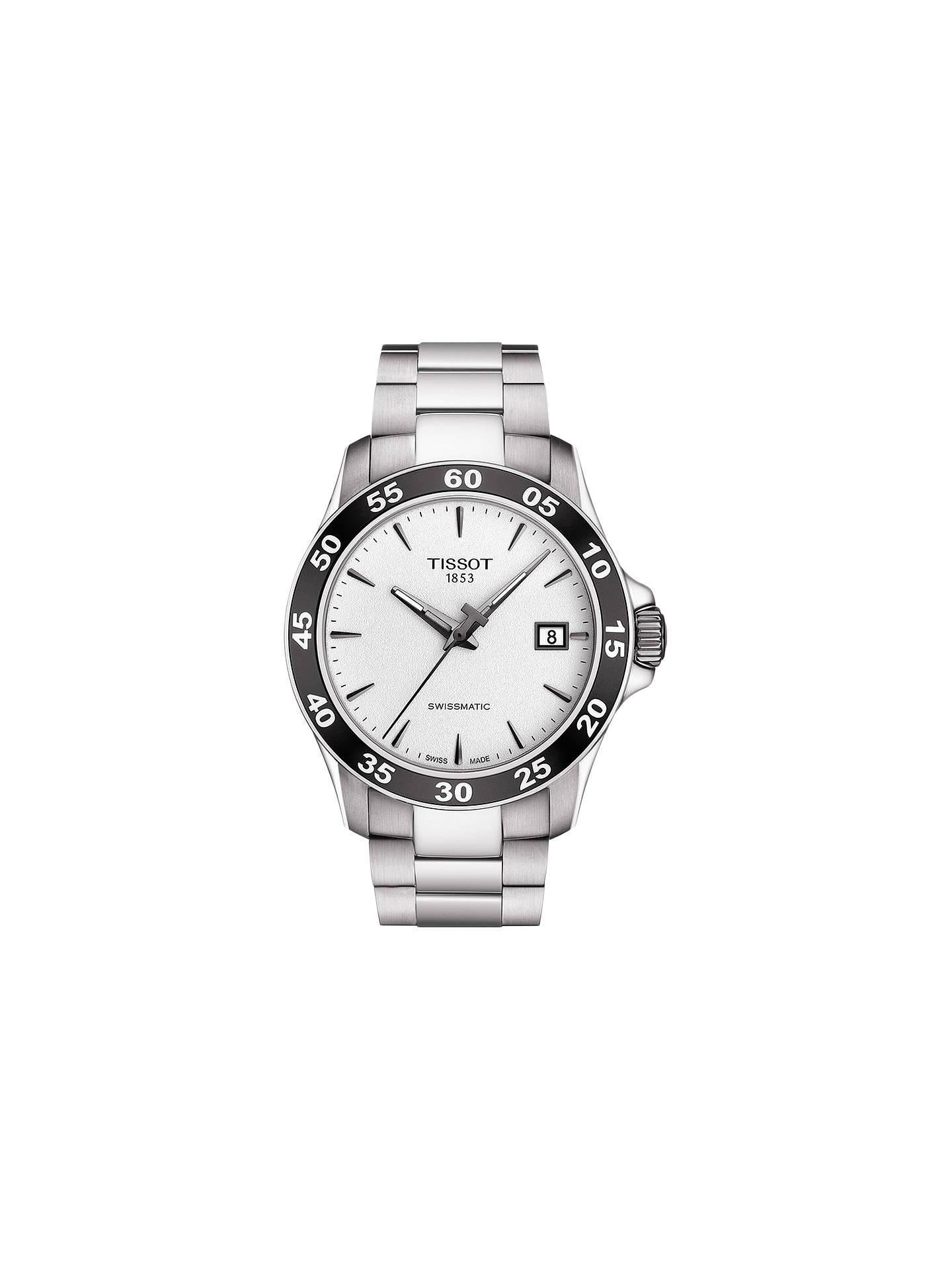 Tissot T1064071103100 Men's V8 Winding Date Bracelet Strap Watch,  Silver/White