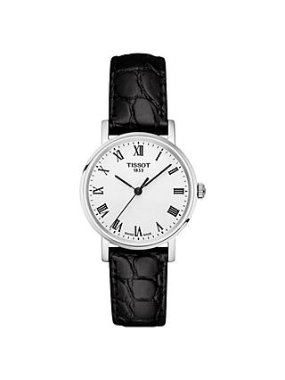 Tissot T1092101603300 Women's Everytime Leather Strap Watch, Black/White