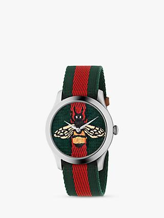 Gucci YA1264060 Unisex G-Timeless Fabric Strap Watch, Green/Red