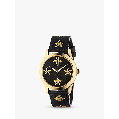 Gucci YA1264055 Unisex G-Timeless Leather Strap Watch, Black